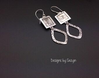 Earrings, silver, tribal, artisan, handmade, large dangle