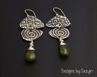 Silver long dangle earrings, Long Oxidized Silver and Vesuvenite Earrings, green stones
