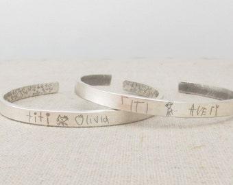 Kids Drawing - Mom Jewelry - Personalized Gift Idea  - Your Childs Art Jewelry - Custom Handwriting -  Personalized Bracelet