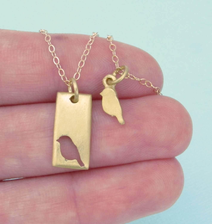 gold bird necklace set little bird mother daughter necklace. Black Bedroom Furniture Sets. Home Design Ideas