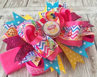 Shopkins Hair Bow,Large Shopkins Bow,Over the Top Shopkins Cake Hair Bow,Shopkins Birthday Bows,Shopkins Headband,Girls Shopkins Accessories