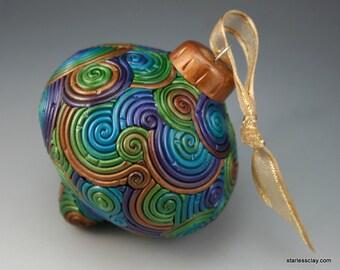 SALE Christmas Ornament in Peacock Colors Fimo Filigree