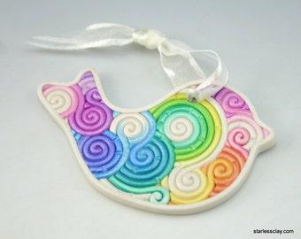 Rainbow Bird Christmas Ornament in Pastel Fimo Filigree