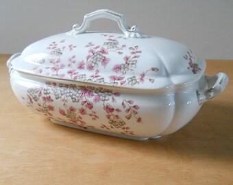 Vintage Carlesbad Covered Casserole • Transferware Covered Serving Dish • Grey Blue Pink Floral Gold Trim