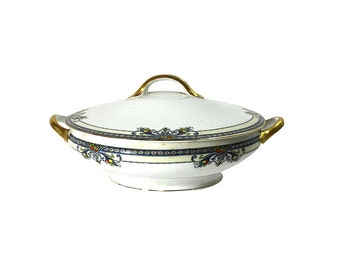 1910s Casserole Dish by Noritake Winona Pattern, Vintage Elegant Dinner Party Decor