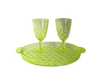 1920s Glass Cocktail Set, Vintage Serving Tray with Glasses