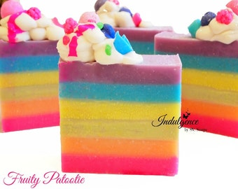 Soap-Fruity Patootie Artisan Vegan Soap/Handmade/Cold Process Soap/Spring/Easter/Rainbow