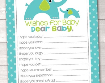 Printable Baby Wishes Blue & Green Elephants and Polka Dots INSTANT DOWNLOAD PDF