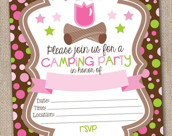 Instant Download Glamping Birthday Party Invitation Printable PDF