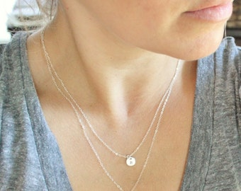 Dainty Layered Necklace Set of 2,  Initial Necklace, Personalized Necklace, Silver, Rose or Gold Double Strand Initial Layering Necklace