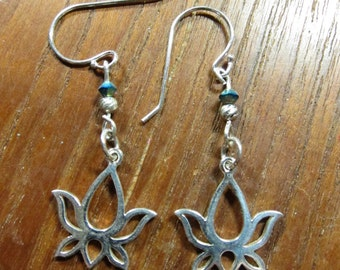 Sterling Lotus Flower Earring, Meditation, New Beginnings, Yoga Inspired Jewelry