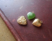 lot of 3 heart pendant charms - jade heart, locket, sterling repousse monogrammed charm - antique vintage costume jewelry