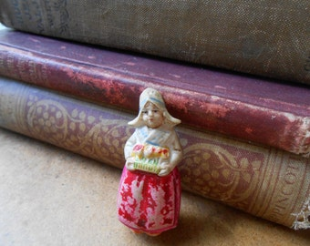tiny dutch bisque lady mini - antique doll made in germany