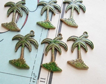 3 pc vintage old new stock green enamel and brass palm tree charms - vintage american brass solid pendants