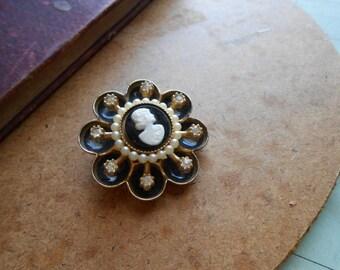 coro black and white cameo brooch enamel rhinestones and pearls elegant classic vintage jewelry designer signed costume jewelry