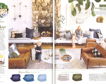 AS SEEN in Good Housekeeping Magazine with Emily Henderson: Colorblock Pillow Cover - Olive Green, Cream + Natural Linen by JillianReneDecor