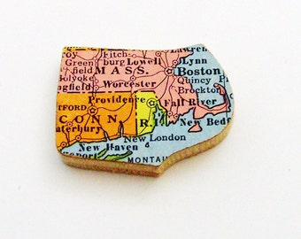 1940s Massachusetts, Connecticut & Rhode Island Brooch - Pin / Unique Wearable History Gift Under 30 / Upcycled Vintage Wood Jewelry