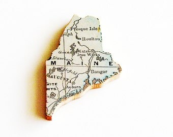 1907 Maine Brooch - Pin / Unique Wearable History GIft Idea / Upcycled Antique Wood Jewelry / Timeless Gift Under 50