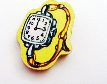 1960s Watch Brooch - Pin / Upcycled Hand Cut Wood Puzzle Piece / Black, White & Yellow Faux Timepiece Wood Brooch / Unique Gift Under 25