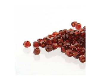 True2 Czech Firepolish Beads 2mm 18511 Transparent Red Wine (2gr about 200 beads), Tiny Round Glass Beads, Faceted Glass Beads