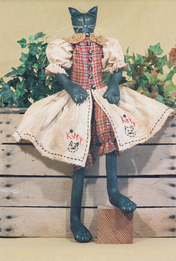 Mailed Cloth Doll Pattern - 23in Primitive-Folkart Style Girl Cat