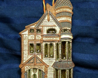 Victoria Littlejohn Victorian House/ Stoneware Studio Pottery /Trivet Wall Hanging