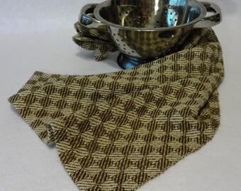 Handwoven Cotton/Linen Towel for Kitchen & Bath -  Brown Check Towel - Handtowel, Kitchen Towel, Handwoven Towel, Tea Towel - #16-09
