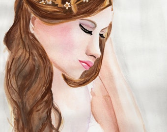 Thoughtful, Print From Original Watercolour Fashion Illustration Painting