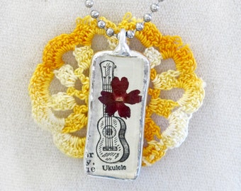 UKULELE Dictionary Art Pendant Necklace