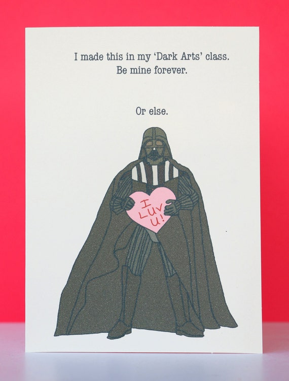 Star Wars Valentine Darth Vader Greeting Card. This Is A Listing For One  4 Inch By 5.5 Inch Valentine/any Occasion Greeting Card Starring The  Original ...