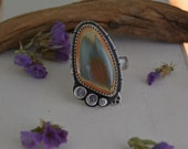 Reserved. Arrow Imperial Jasper Ring. Neutral Stone Sterling Silver Ring. One of a Kind. Metalwork Jewelry. Size 7