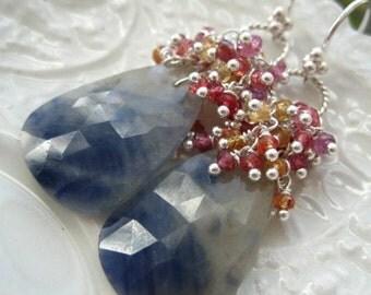 """Rose Cut Sapphire Earrings-""""Blue Skies"""""""