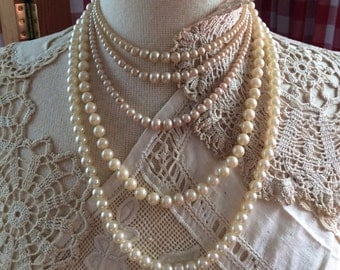 Set of Five Strands Vintage Faux Pearl Necklaces