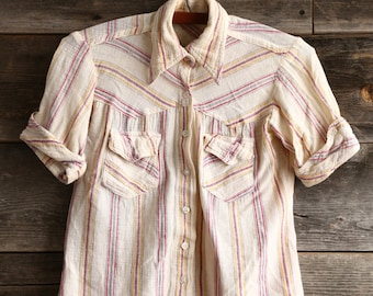 SALE- Linen Shirt . Button Down Top XS