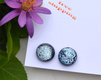 133 Fused dichroic glass earrings, round, sparkle, silver
