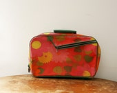 vintage 60s Small Childs Groovy Flower Power Weekend Getaway Soft Suitcase  // Distressed & Lovely