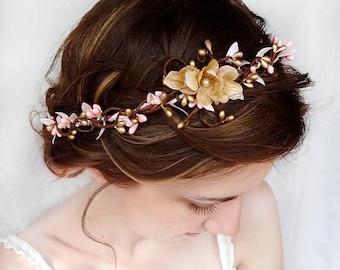bridal headpiece, pink gold bridal headband, wedding hair piece, pink flower crown, crown headband, gold flower crown, wedding headpiece
