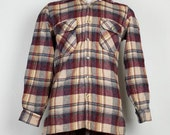 Vintage Tan Plaid Wool Blend Shirt Mens S 1980s