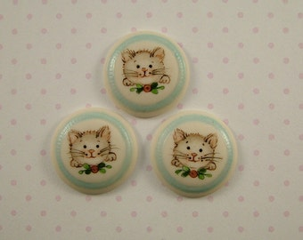 Kitty Buttons set of 3