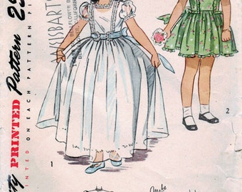 1940s Simplicity 2267 Vintage Sewing Pattern Child Party Dress, Formal Dress in 2 Lengths Size 7