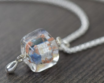 Murano glass necklace in Blue necklace and gold necklace Venetian glass necklace