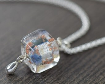 Murano glass necklace in Blue necklace and gold necklace Venetian glass necklace gifts for her