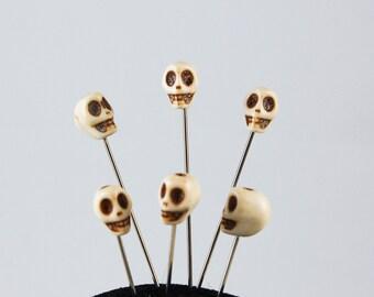 Howlite Skull Straight Pin - Set of 6 medium long bone color voodoo pins