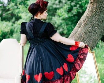 Queen of Hearts Dress - Steampunk Adult Halloween Costume - Alice in Wonderland- Red Queen Lewis Carrol -Custom to your size