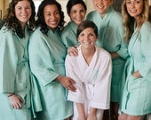 Monogrammed Mint Bridal Robes, Bridesmaid Robes, Wedding, Gift for Her, Bridal Party Gifts