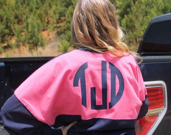 Monogrammed Preppy Jersey - Circle Block Monogram