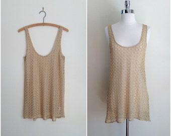 Vintage metallic gold crochet tank / gold metallic crochet sweater