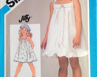 Vintage 80's Simplicity 6423 Sewing Pattern, Child's Jiffy Pullover Sundress, Size 5, 24 Breast, Summer, Uncut FF