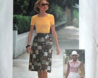 Misses' Wrap Skirt and Tops, Vintage 70's Simplicity 7551 Jiffy Sewing Pattern, Retro 1970's Fashion, Size 12-14, Bust 34-36, Uncut FF