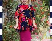 LillyAnnaKids Girls Floral Peplum Shirt Top
